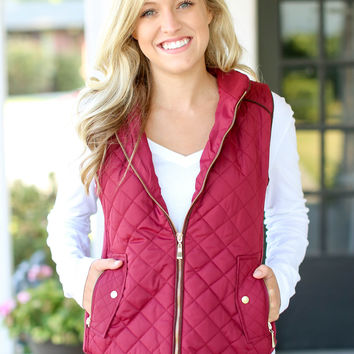 Quilted Riding Vest - Crimson