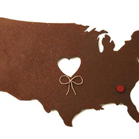 USA United States Map Metal Wall Art Sculpture - State Sculpture - State Silhouette - State Decor - Rustic - Rusty