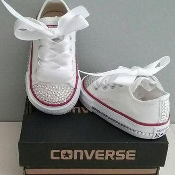 ICIKGQ8 white converse bling crystals toddler sizes 2 10 bedazzled toes all around up th