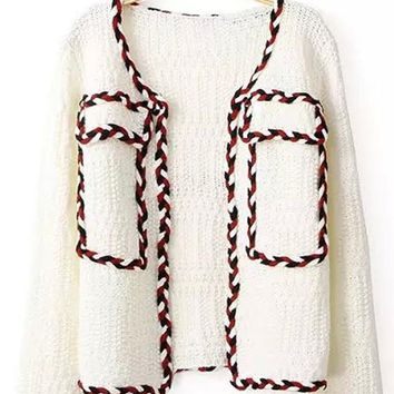 White Patchwork Long Sleeve Cardigan