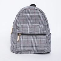 Gray Plaid Mini Backpack