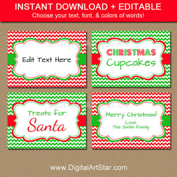 Holiday Party Food Labels - Christmas Food Labels - Printable Food Label Template - EDITABLE Holiday Place Cards - Instant Download Labels