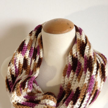 ON SALE - Rose, Cream, Chocolate Brown and Tan Cowl Scarf