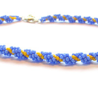 Beaded Anklet, Beaded Ankle Bracelet, Beach Wedding, Prom Accessory, Womens Ankle Bracelet, 11 inch anklet, Blue and Yellow