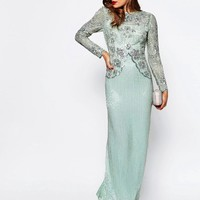 ASOS | ASOS RED CARPET Linear Long Sleeve Embellished Maxi Dress at ASOS