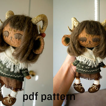 monster doll pattern / human doll pattern / forest girl doll pattern / sewing pattern AND detailed tutorial