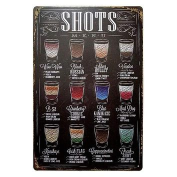 "Vintage Metal ""Shots"" Menu Sign"