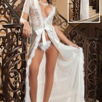 Ivory Fur Mesh Lace Night Robe Lingerie