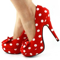 Show Story Two Tone Spot Polka Dots Bow Stiletto Platform High Heel Pump,LF30406