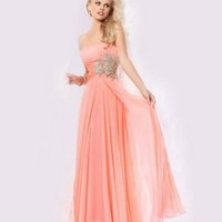 Strapless Floor-length A-line Chiffon Orange Evening Dresses [10129135] - US$138.99 : DressKindom