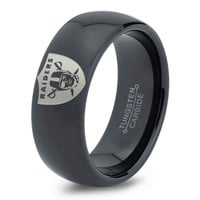Oakland Raiders Ring Mens Fanatic NFL Sports Football Boys Girls Womens NFL Jewelry Fathers Day Gift Tungsten Carbide 077