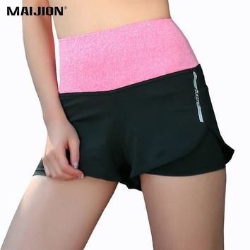 MAIJION 2 in 1 Women Sports Fitness Yoga Shorts High Waist Quick Dry Workout Athletic Running Shorts Compression Gym Short Pants