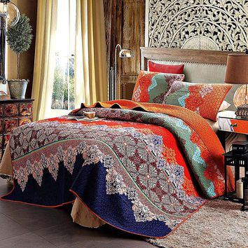 Meet Me In Morocco Cotton 3-PC Paisley Boho Reversible Quilt Set