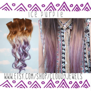 Handmade Brown, Blonde, Auburn, Blonde, Ombre Dip Dyed Hair, You pick the colors, Custom Hair Extensions, Human Hair, Clip In Hair, Rainbow