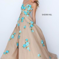 Sherri Hill Floral A-Line Dress 50203