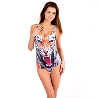 Tiger Print One Piece Swimsuit