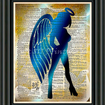 Sexy Angel art print - Seraphim wall art - Dictionary page art