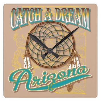 Arizona Bad Dreams Catcher Square Wall Clock