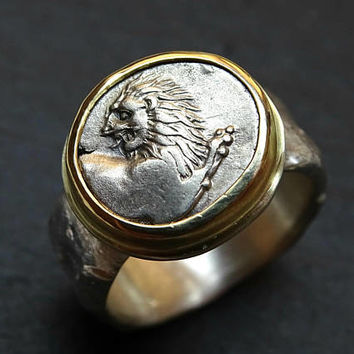 authentic ancient lion coin ring gold silver, ancient Greek silver coin ring man, real ancient silver Lion coin, silver coin jewelry for men