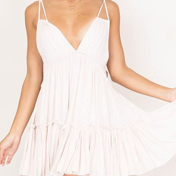 White V Front and Back Double Strap Cami Skater Dress