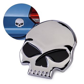 DWCX Car Auto SUV Trucks Motorcycle Bicycle Metal 3D Silver Skull Head Logo Skeleton Devil Head Emblem Badge Logo Sticker Decal