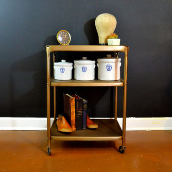 Vintage Gold Bar Cart, Hollywood Regency 3 Tier Cart with Metal Shelves, Mid Century Rolling Cart