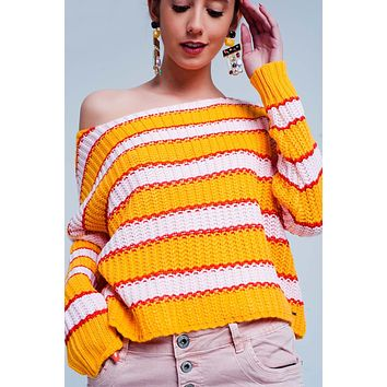 and pink Color block stripe sweater