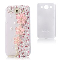 Mavis's Diary 3d Handmade Crystal Pearl Pink Flower Design Diamond Rhinestone Sparkle Glitter Hard Case White Cover with Soft Clean Cloth (LG Optimus G Pro E980 F240k)