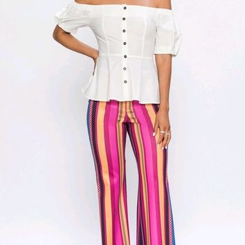 Tequila Sunrise Vertical Stripe Pattern High Waist Loose Flare Wide Leg Pants