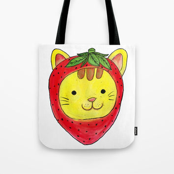 Strawberry Cat Tote Bag by Shashira Handmaker