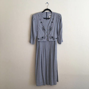 90s Vintage / Vest Dress / Workwear / Young Professional / Gray / Grey / Black