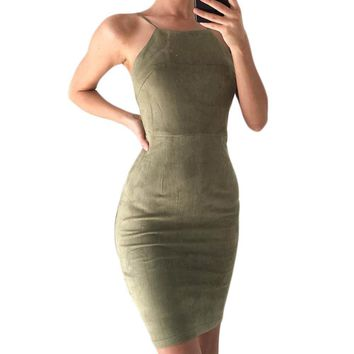 Sexy Lace up Faux Suede Bodycon Mini Dresses New 2017 Boho Crisscross Split Halter Backless Summer Sheath Wrap Dress Vestidos