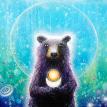 "Bear Print - Bear Art - Fantasy - Bear - Nature Art 8""x10"""