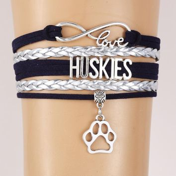 Infinity Love Huskies Bracelet-Pet Dog Paw Charm Leather braided Bracelets & Bangles Jewelry