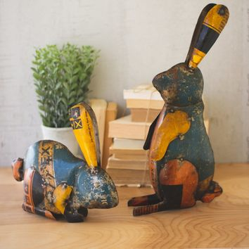 Set of 2 Recycled Iron Rabbits