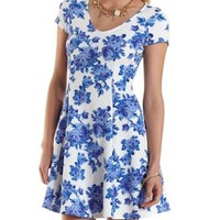 White Combo Floral Print Skater Dress by Charlotte Russe
