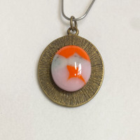 Fused glass key chain - chase the sunset -  key chain - orange - blue - pink - keychain - reversible pendant - glass pendant keychain