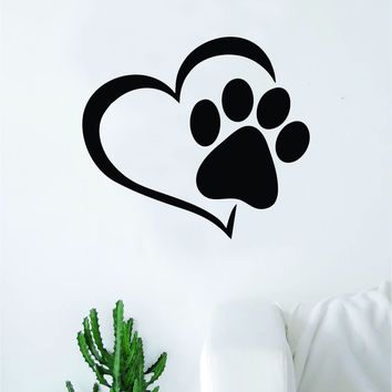 Dog Paw Heart V2 Decal Sticker Wall Vinyl Art Home Room Home Decor Animal Pet Teen Adopt Rescue Puppy Doggy Cute Love