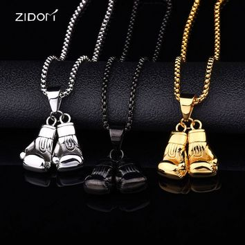 Men Hiphop double boxing gloves pendant necklaces Stainless Steel High quality fashion Classic necklace male punk jewelry gifts