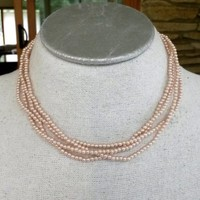 Vintage Marvella Pink Faux Pearl Strand Choker Necklace Small Bead