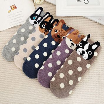 1Pair Women Socks Small Ear Cartoon Animal Series Unique Design Socks Cute Dogs Cats Gift New Brand 2017