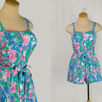 Vintage 1970's PIN-UP GIRL Swimsuit Halter Playsuit