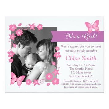 Elegant Photo Pink butterfly baby shower party 4.25x5.5 Paper Invitation Card