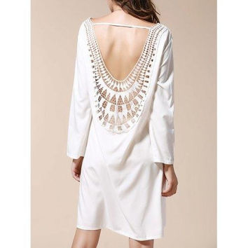 Sexy Scoop Neck Long Sleeve Backless Hollow Out Women's Dress