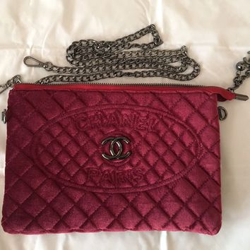 Brand New Chanel VIP Gift Wine Red Velvet Quilted Shoulder Bag Clutch w/ Chain