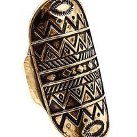 Aztec Design Indie Boho Ring Geometric Zig Zag Knuckle Black Gold Bohemian Armor