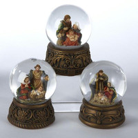 12 Christmas Glitterdomes - Nativity Scene