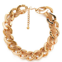FOREVER 21 Oversized Woven Chain Necklace Gold One