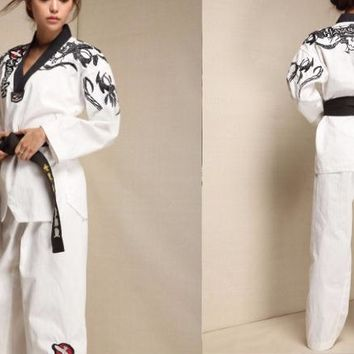 unisex black/white Top quality  embroidery Taekwondo long sleeve suits  adult Tae kwon do uniforms suit TKD trainer clothing