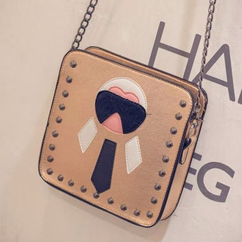 One Shoulder Rivet Chain Cartoons Patchwork Bags [6582241607]